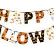 Halloween orange and black banner with greetings Happy Halloween